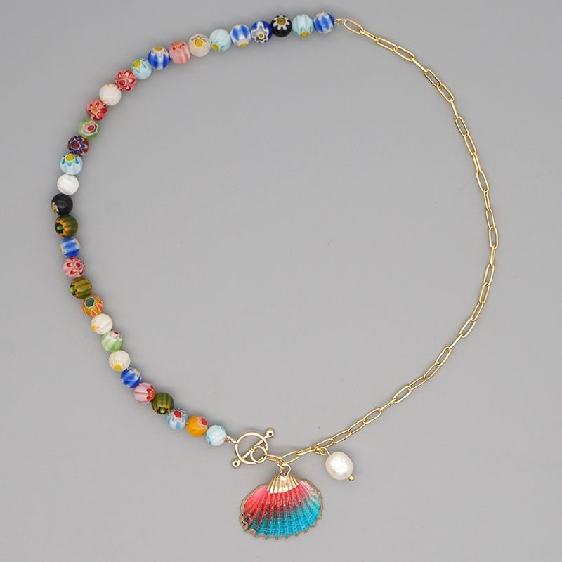 niche fashion bohemian color natural freshwater pearl shell clavicle chain for women NHGW243587