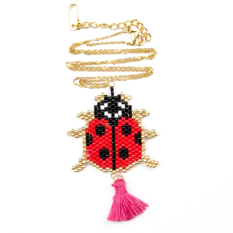 hot sale stainless steel plating colorpreserving necklace Sevenstar bug rice beads handwoven jewelry NHGW243589