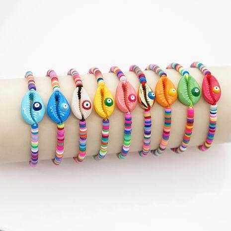 Moda ojos de concha natural playa viento pulsera de cerámica suave colorida tejida a mano para mujeres NHGW243590's discount tags
