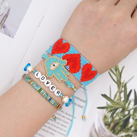 Fashion rice beads love-shaped color bohemian style bracelet for women NHGW243594's discount tags