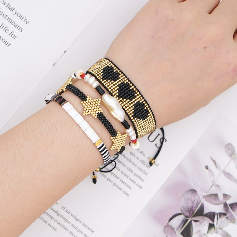 fashion rice beads hand-woven love baroque natural pearl bracelet set NHGW243596