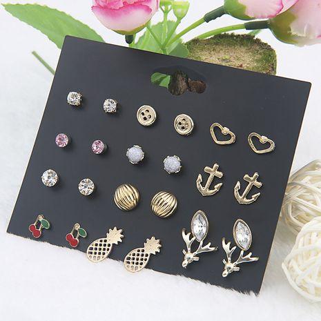 bois de fruits de mode 12 paires de boucles d'oreilles simples en alliage pour les femmes en gros NHSD243606's discount tags