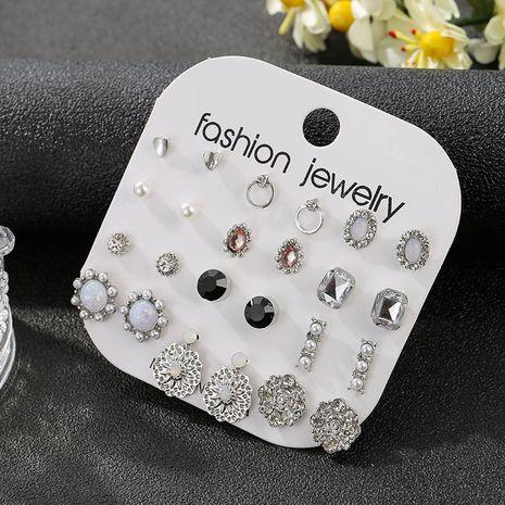 Nouvelle tendance coréenne 12 paires de boucles d'oreilles en alliage simples pour femmes en cristal NHSD243608's discount tags