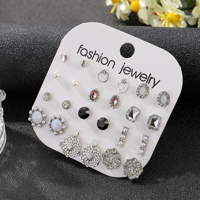Korean new trend 12 pairs set simple crystal women's alloy earrings NHSD243608