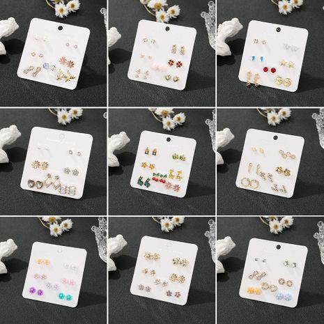 Ensemble de 7 pièces de boucles d'oreilles en alliage simple sauvage d'étudiants coréens Combinaison de semaine NHSD243610's discount tags