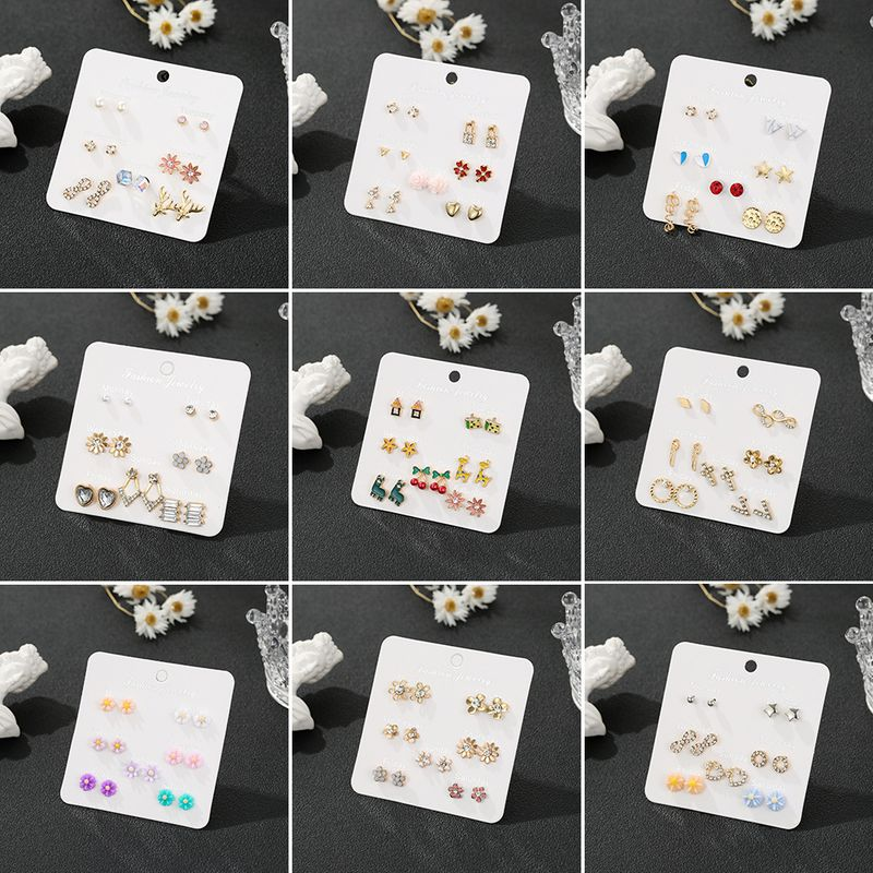 Korean students wild simple alloy 7pieces earring set week combination NHSD243610