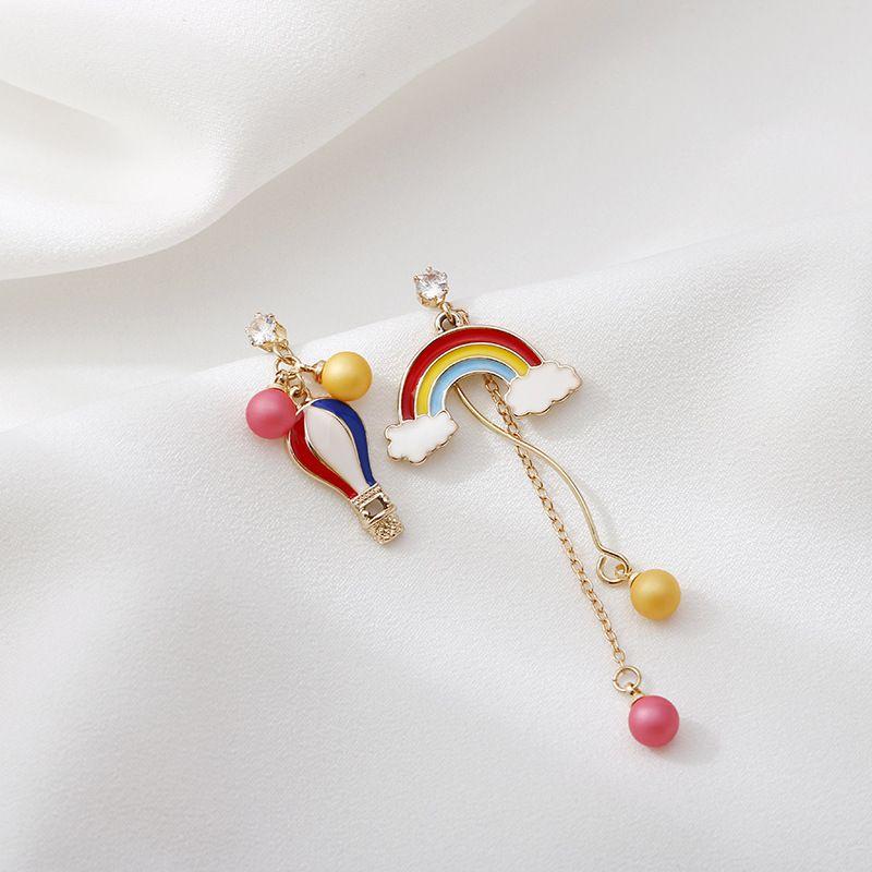 s925 Silver Needle Rainbow Balloon Fashion Asymmetrical Tassel Long Earrings wholesale nihaojewelry NHSD243611