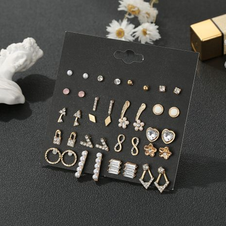 Vintage incrusté de strass fleur perle 20 paires ensemble de boucles d'oreilles en alliage d'or bijoux en gros NHSD243612's discount tags