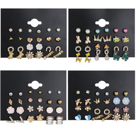 simple 12-piece set of flower heart earrings set wholesale nihaojewelry NHSD243613's discount tags
