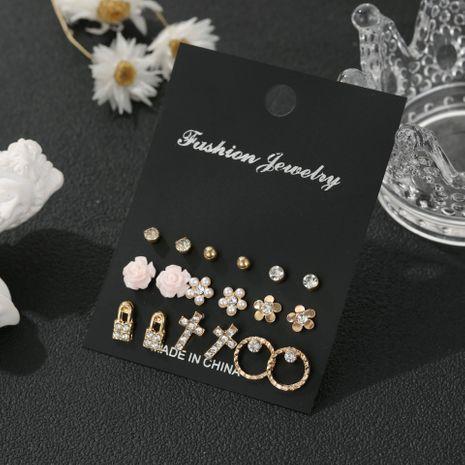 Offre spéciale nouvelle perle fleur serrure cercle géométrique 9 paires combinaison strass alliage boucle d'oreille ensemble NHSD243614's discount tags