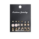 Hot Sale New Pearl Flower Lock Geometric Circle 9 Pairs Combination Rhinestone alloy Earring Set NHSD243614