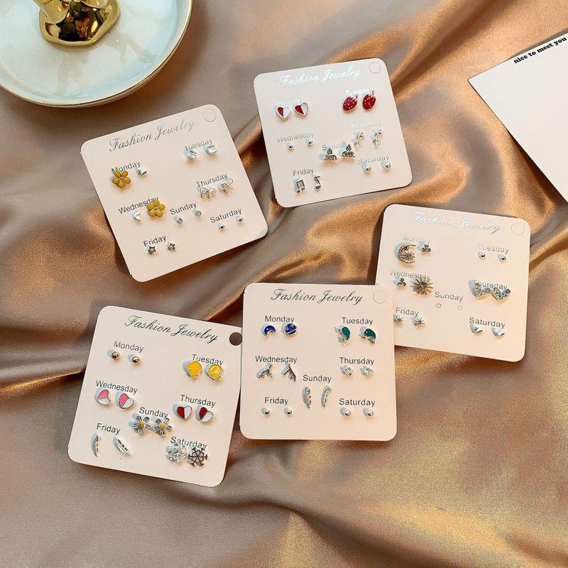 S925 silver needle micro inlaid crystal short earrings wholesale nihaojewelry NHSD243615