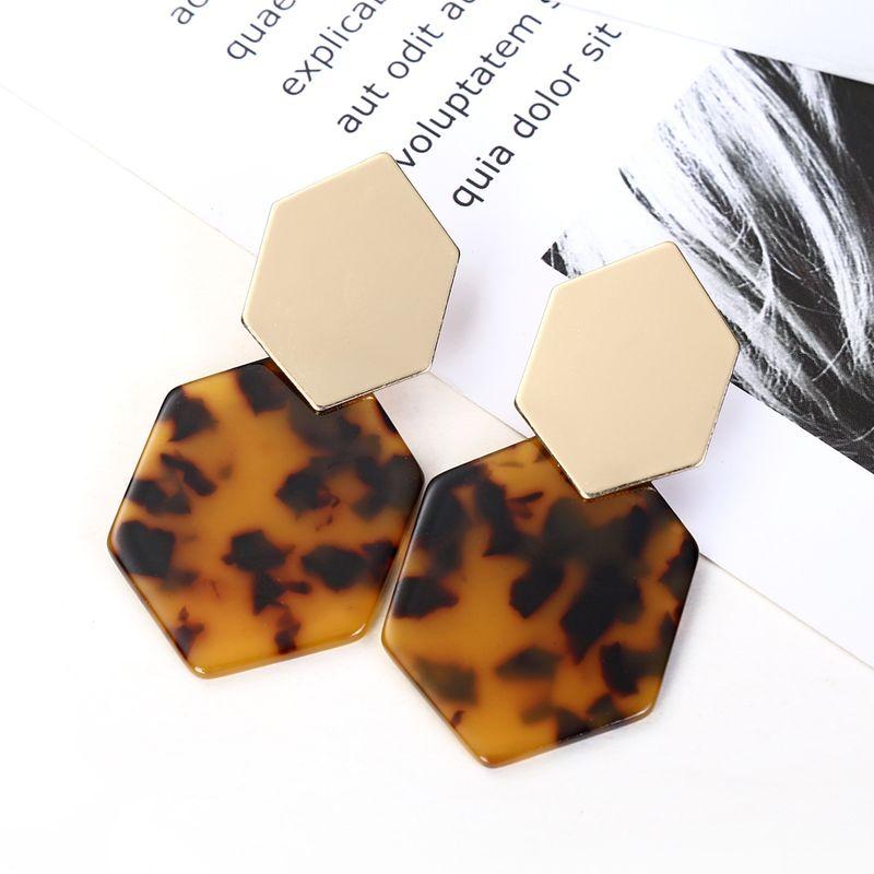 hot sale alloy hexagonal diamond geometric acrylic pendant earrings wholesale nihaojewelry NHXI243620