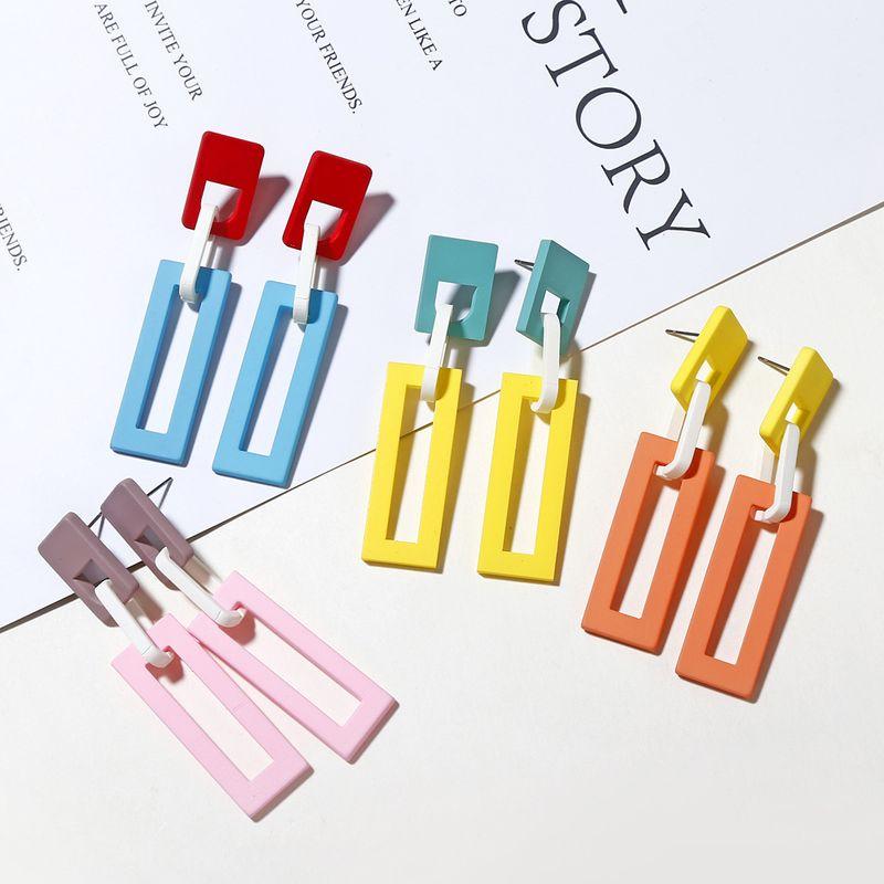 Korea Acrylic Fashion Geometric Square Pendant Contrasting Color Chain Long Earrings wholesale nihaojewelry NHXI243625