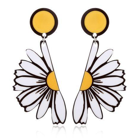 Korean summer acrylic daisy flower exaggerated semicircle chrysanthemum alloy earring  NHXI243626's discount tags