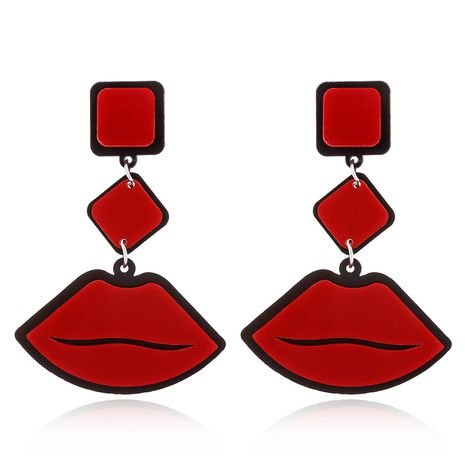 flame red lips punk jazz style exaggerated fashion acrylic earrings wholesale NHXI243629's discount tags