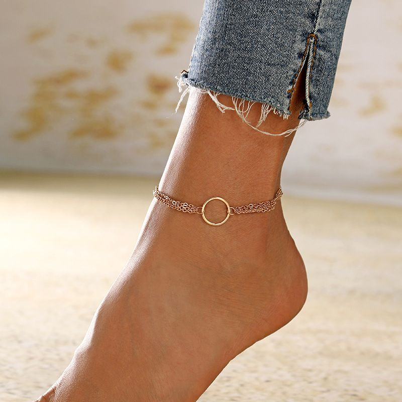 new product fashion summer simple metal ring multilayer alloy chain anklet  NHXI243635