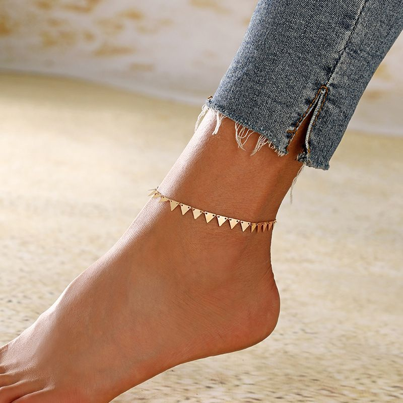 new beach foot decoration triangle handmade tassel alloy anklet hot-saling wholesale NHXI243648