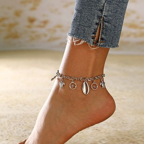 new fashion ocean series starfish wave shell alloy pendant anklet for women NHXI243650's discount tags