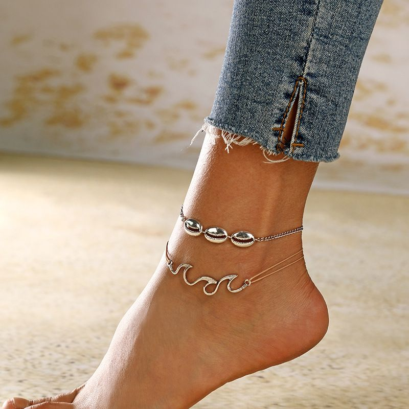 new fashion retro beach wave spray alloy shell anklet foot ornaments NHXI243652