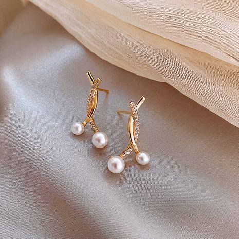 925 argent aiguille simple petite croix perle coréenne nouvelles boucles d'oreilles en alliage à la mode pour les femmes NHXI243653's discount tags