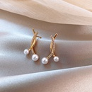 925 silver needle simple  small cross pearl Korean new trendy alloy earrings for women NHXI243653