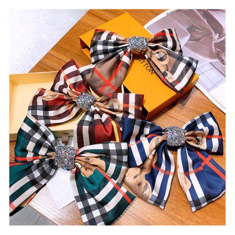 Korean retro plaid full diamond big bow  hairpin wholesale NHHD243655's discount tags