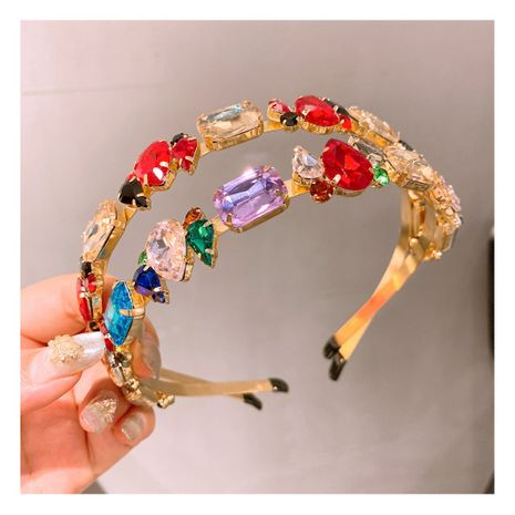 crystal baroque geometric size mixed color diamond headband  wholesale  NHHD243656's discount tags