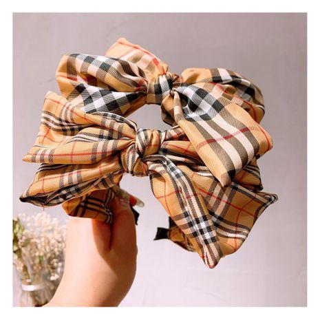 retro college British lattice asymmetric bow tie all-match hairband wholesale NHHD243659's discount tags