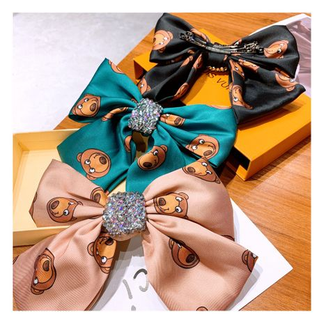 Korea Retro Cartoon Cute Bear Full of Diamond Big Bow hairpin wholesale nihaojewelry NHHD243660's discount tags
