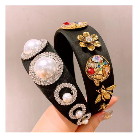 Korea retro rhinestone big cream bead color diamond bee flower headband wholesale NHHD243662's discount tags