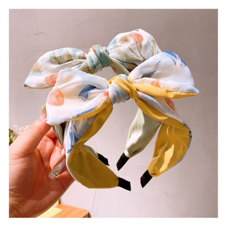 retro style painted splash ink flowers color matching bow hair band  wholesale  NHHD243663's discount tags