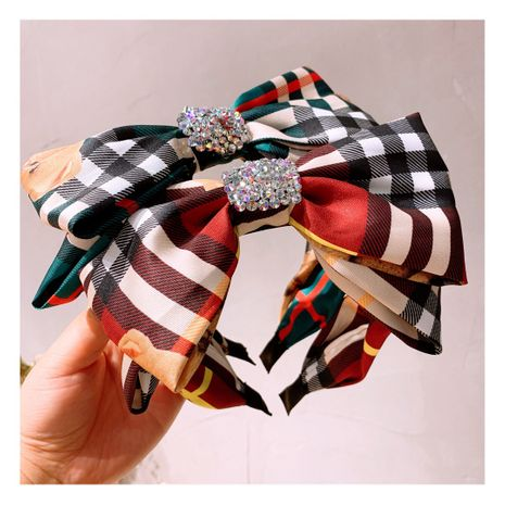 retro British style double full diamond bow hair band hairpin wholesale  NHHD243664's discount tags