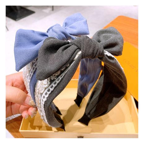 Korea Retro Embroidered Lace Flower Denim Bow Hair Band wholesale  NHHD243665's discount tags
