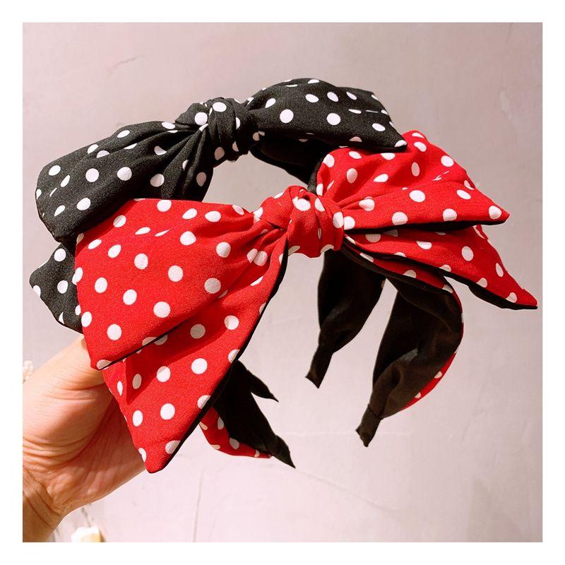 Korean  retro style polka dot double-layer bowknot wide side headband wholesale  NHHD243666