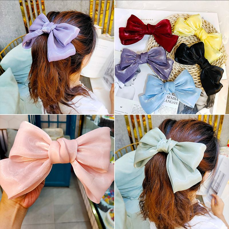 big bow hairpin micro flashing silky back head clip hairpin hair ornament wholesale nihaojewelry NHUX243669