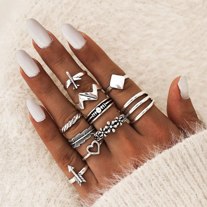 Exaggerated Hollow Love Heart Silver Flower Plane Wave Anchor Square Geometric 10-piece Ring wholesale nihaojewelry NHPV243683