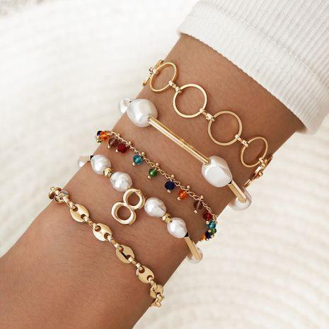 Bohemia elegante perla en forma especial colorida con cuentas en forma de 8 pulsera hueca cinco juegos NHPV243696's discount tags
