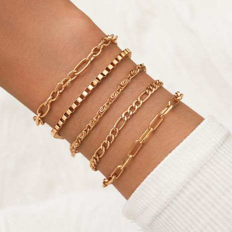 Simple punk style gold box chain rose chain chunky chain five 5 piece set bracelet  NHPV243698's discount tags