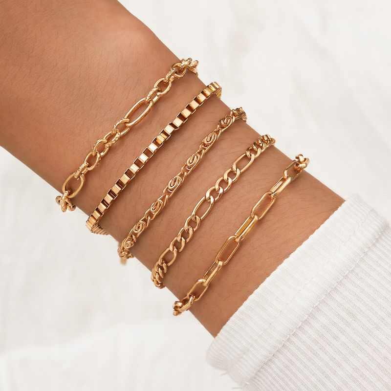 Simple punk style gold box chain rose chain chunky chain five 5 piece set bracelet  NHPV243698