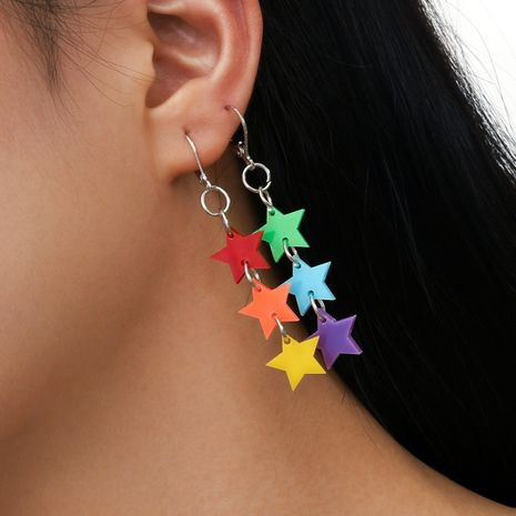 new style keychain hanging ring red orange yellow green blue purple acrylic tassel star five-pointed star earrings  NHPV243699's discount tags