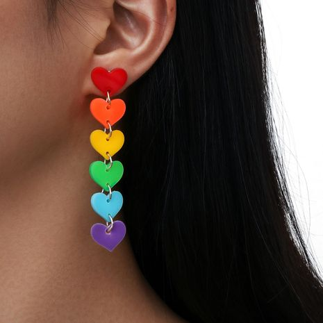 new colorful   tassel love heart acrylic earrings  NHPV243700's discount tags