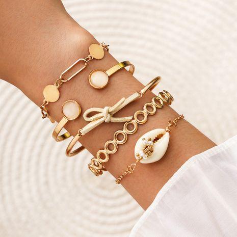 nuevo círculo hueco concha natural perla arco abierto señoras pulsera conjunto de 5 piezas NHPV243702's discount tags
