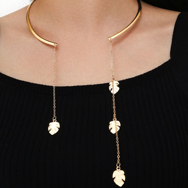 Fashion punk hip-hop open collar tassel leaf  necklace wholesale NHPV243705