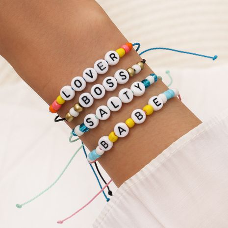 Fashion hand-woven multicolored rope beaded Lover Babe fun letter hand rope bracelet  NHPV243708's discount tags