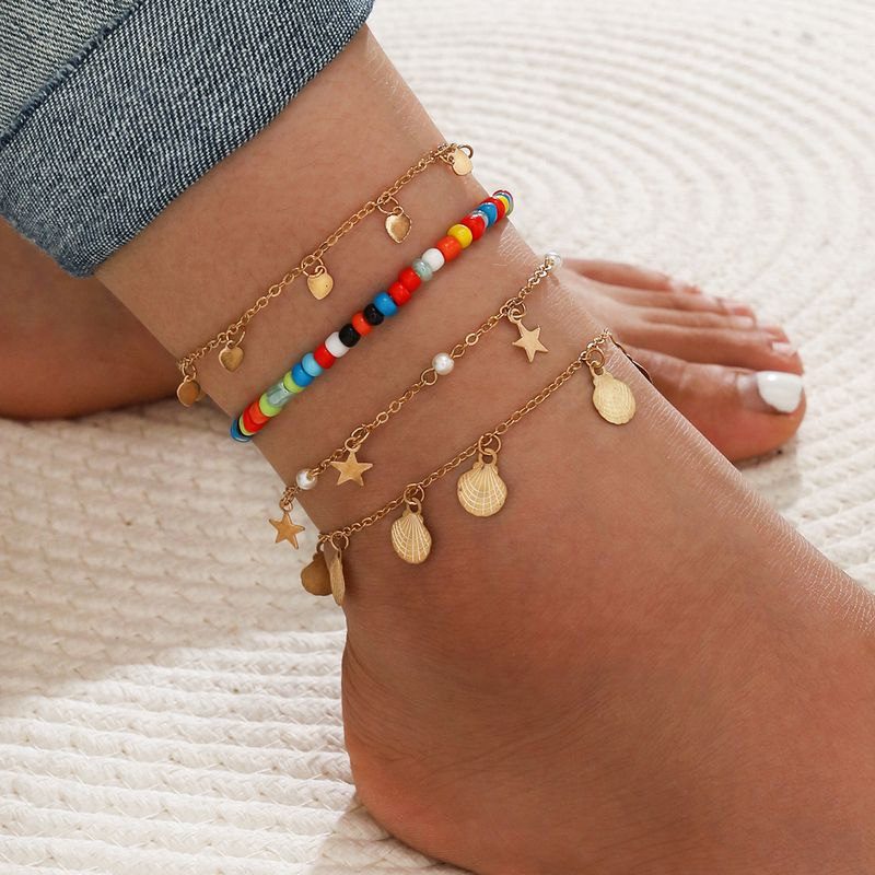 Bohemian Multicolored Handmade Beaded Star Shell Pearl Geometric Tassel alloy Anklet Set of Four  NHPV243712