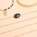 new style black resin stone handmade bead chain hollow opening alloy bracelet 6piece set NHPV243714