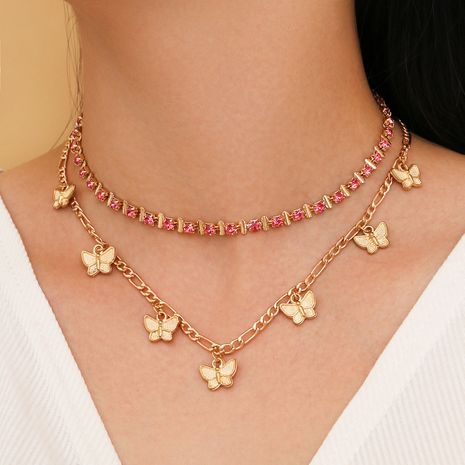 simple pink copper clasp claw chain butterfly tassel multi-layer two-piece set necklace wholesale nihaojewelry NHPV243715's discount tags