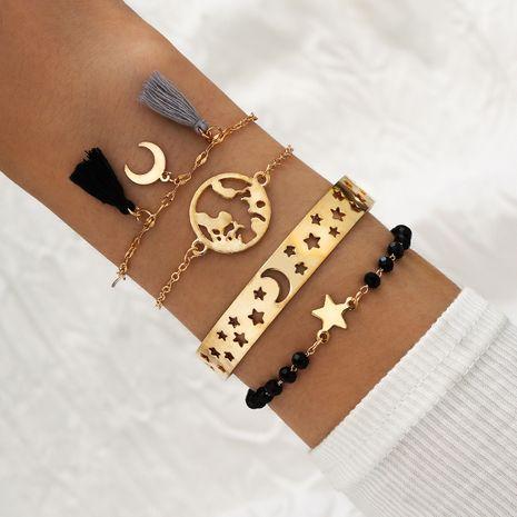 new handmade beaded tassel 4-piece hollow star moon map star and moon set alloy bracelet NHPV243718's discount tags