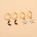 Summer new simple wind resin moon fivepointed star diamond girls alloy pendant earrings  NHPV243722